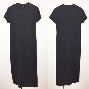 Zara charcoal gray t-shirt dress side slit small
